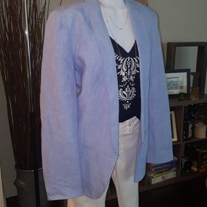 Joie baby blue cotton linen blazer